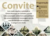 Cachoeira comemora 183 anos de elevação à categoria de cidade com Sessão Solene