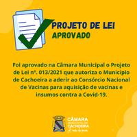 Covid -19: Vereadores aprovam projeto de adesão ao consórcio de vacinas